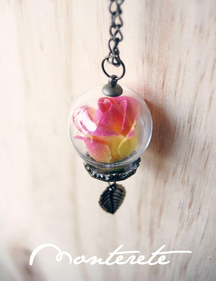 Collar esfera cristal rosa amarillo/rosa