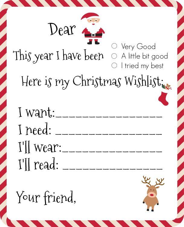 Dear Santa Printable Wishlist Santa Wish List Christmas
