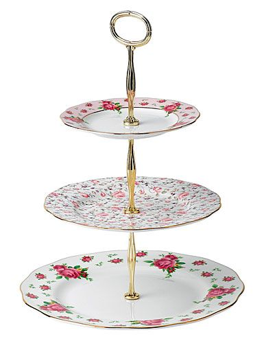 Royal Albert New Country Roses White Vintage Formal 3-Tier Cake Stand