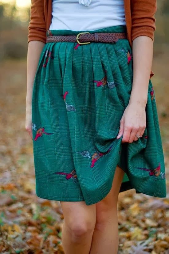 Plain Cardigan With Printed Skirt and Navy Blouse. Love the length of the skirt!!
