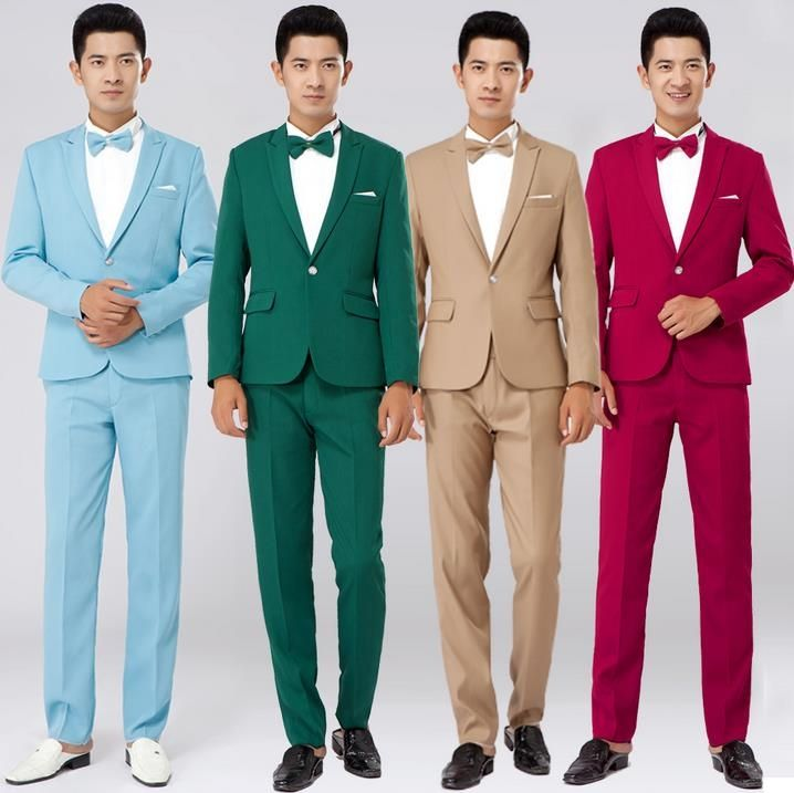 Black red khaki white green blue 2017 new arrival dress mens suits ...