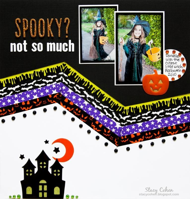 Spooky? Not so much scrapbook layout by Queen & Co.