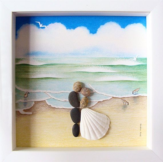 Gifts For Guests Beach Wedding: Wedding Gift Pebble Art- Beach Theme Wedding- Engagement
