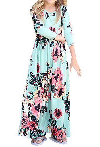 f699cbebedd Syktkmx Cute Baby Girls Hit Color Long Dress Children Casual Cotton  Beachwear Maxi Dress fit (9-10 Years