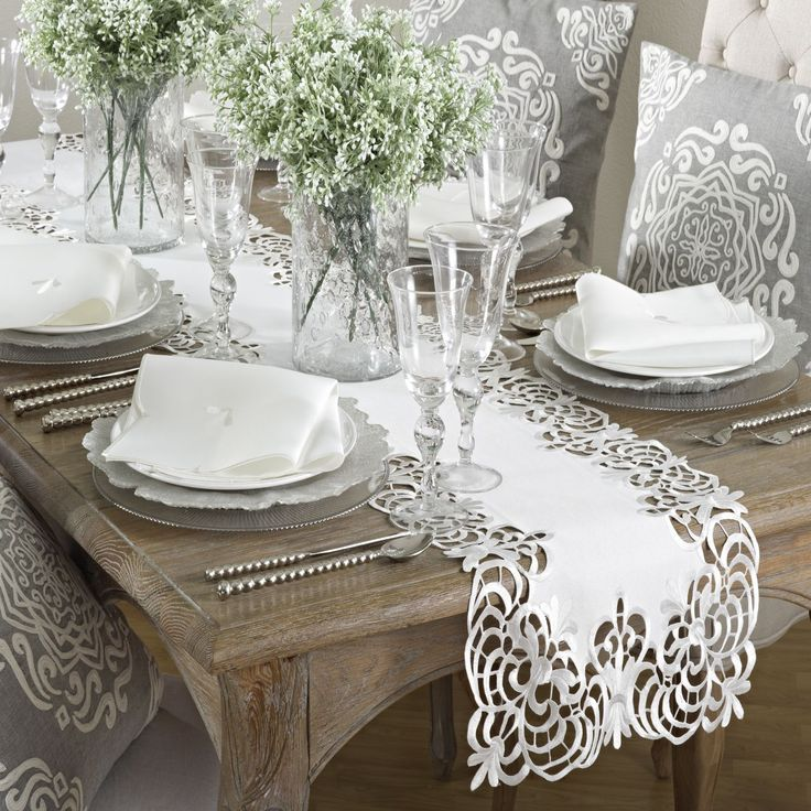 Cutwork Design Runner (Ivory), Beige, Saro Lifesty