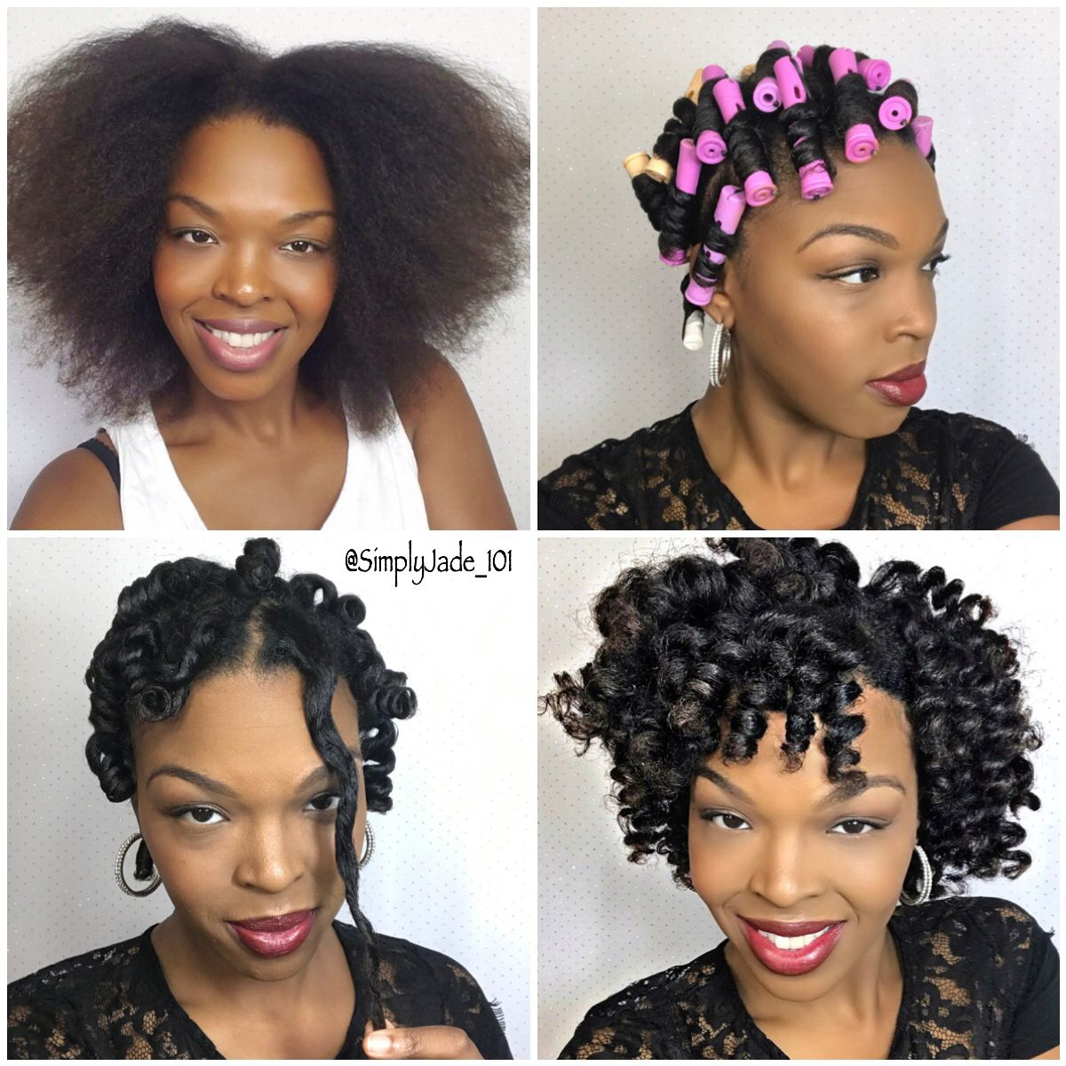 Perm Rod Set Pictorial For Short Medium Length Hair Full Tutorial Youtube Com Simplyjade101 Natural Hair Styles Medium Hair Styles Medium Length Hair Styles