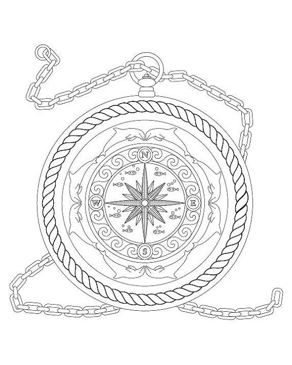 Nautical Coloring Pages Nautical Map Drawing With Anchors At