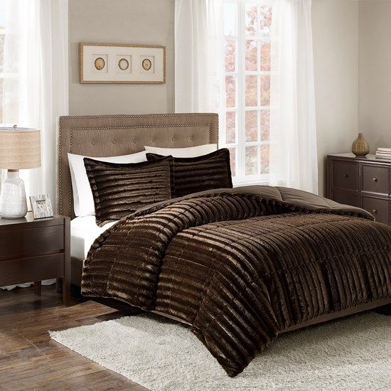 comforter on deal in set morgan fur piece queen marselle amazing fashions faux mali brown shop home chocolate full brushed