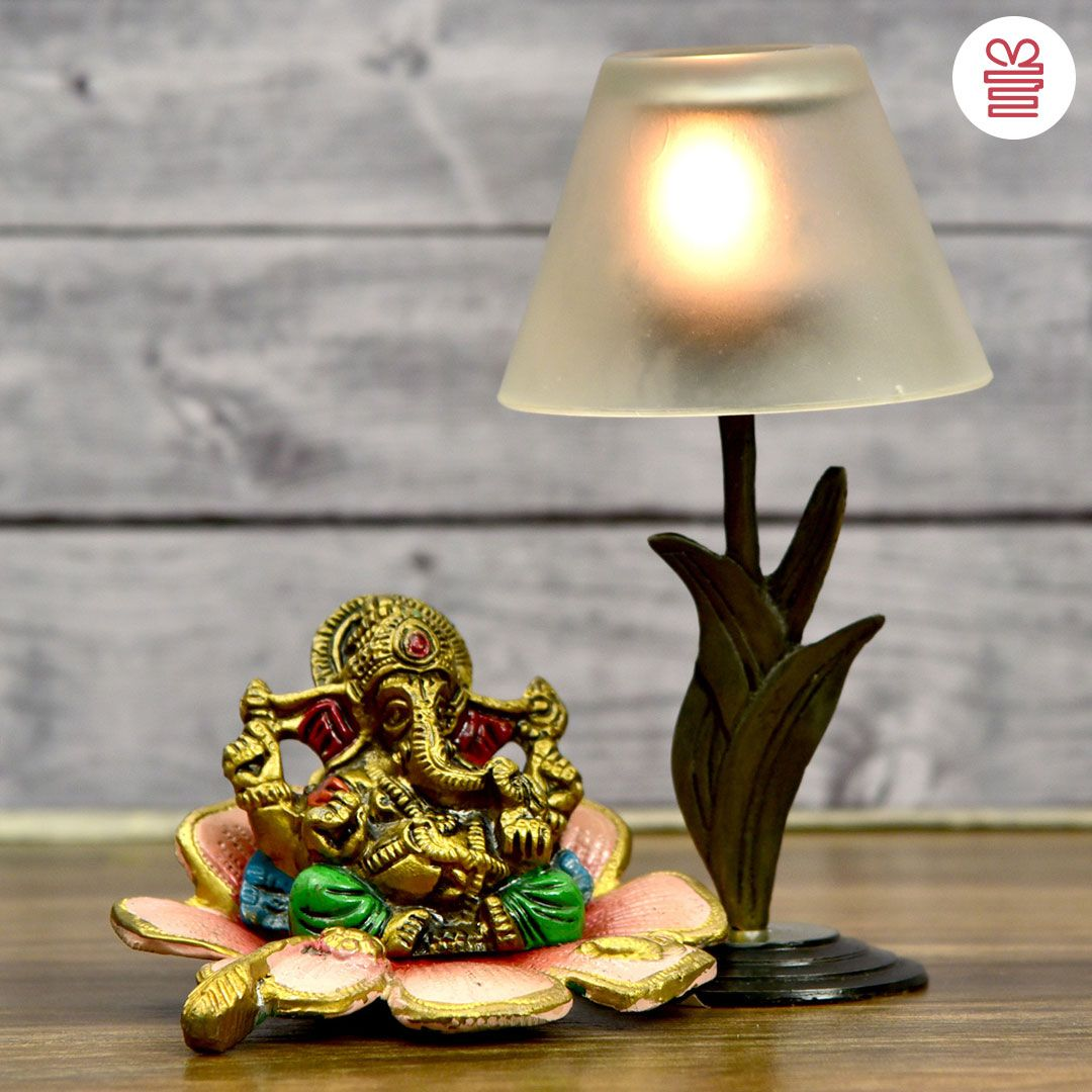 White Metal Ganesha Idol On Flower With Frosted Glass Shade Lamp