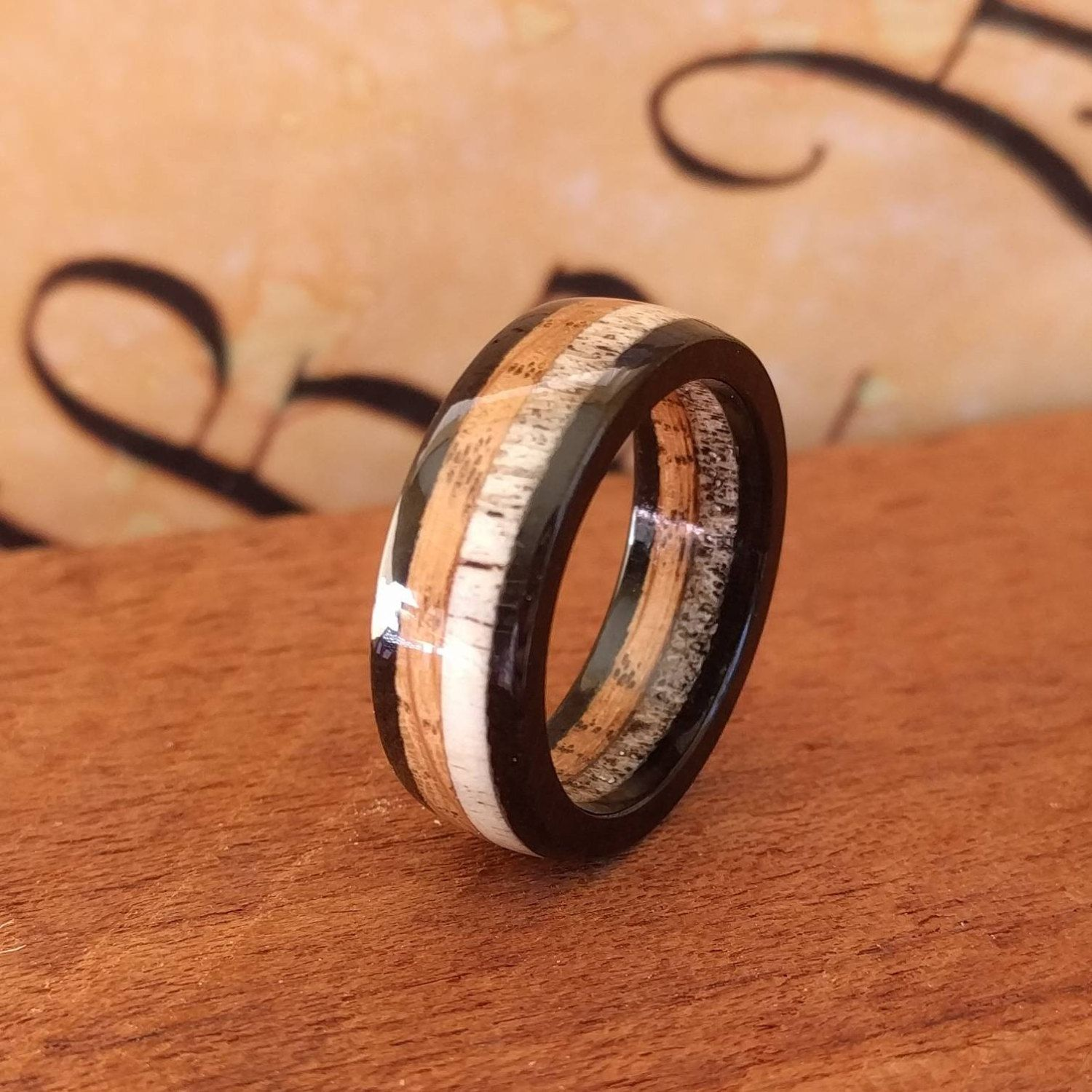 antler and copper spalted patina wedding band pin elk featuring maple rings bandantler