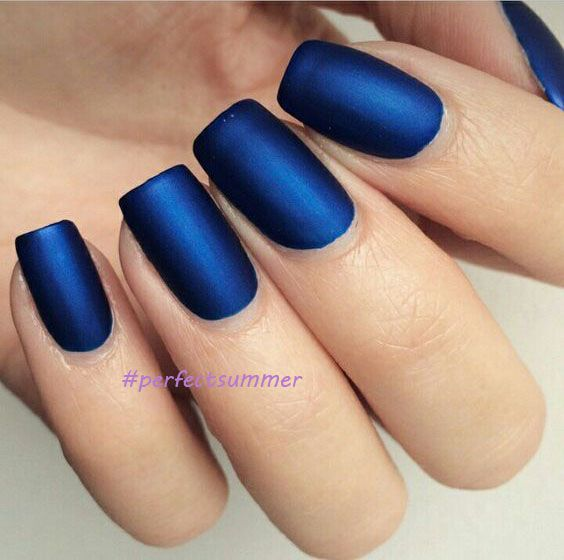 Beautiful Matte Top Coat And Blue Color Gel Nail For Nail Design
