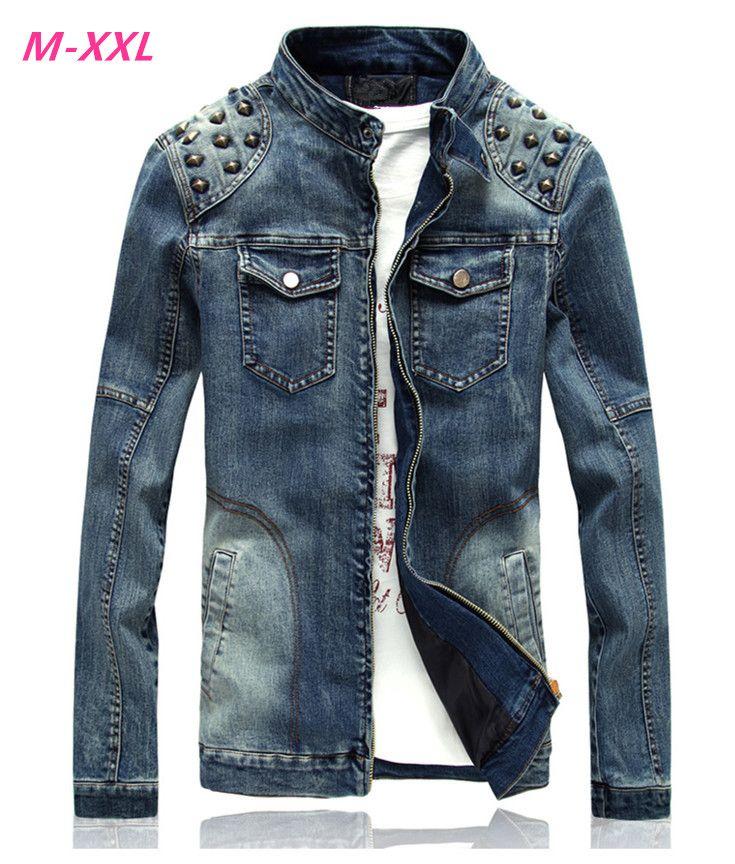 9448dbf4b7a9 Click to Buy << Punk Style Spring Autumn Denim Motorcycle Jeans Jacket Men  Mandarin Collar Slim Fit Jeans Jackets and Coats With Rivets #Affiliate