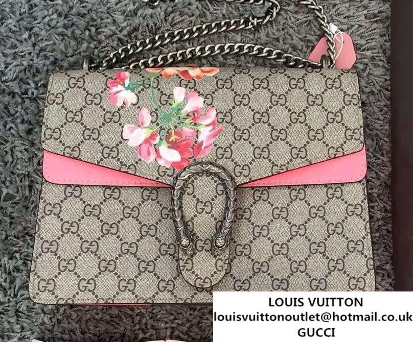 f17a8d3e16e1 Gucci Dionysus Blooms Print GG Supreme Shoulder Bag 400235 Pink 2015 ...