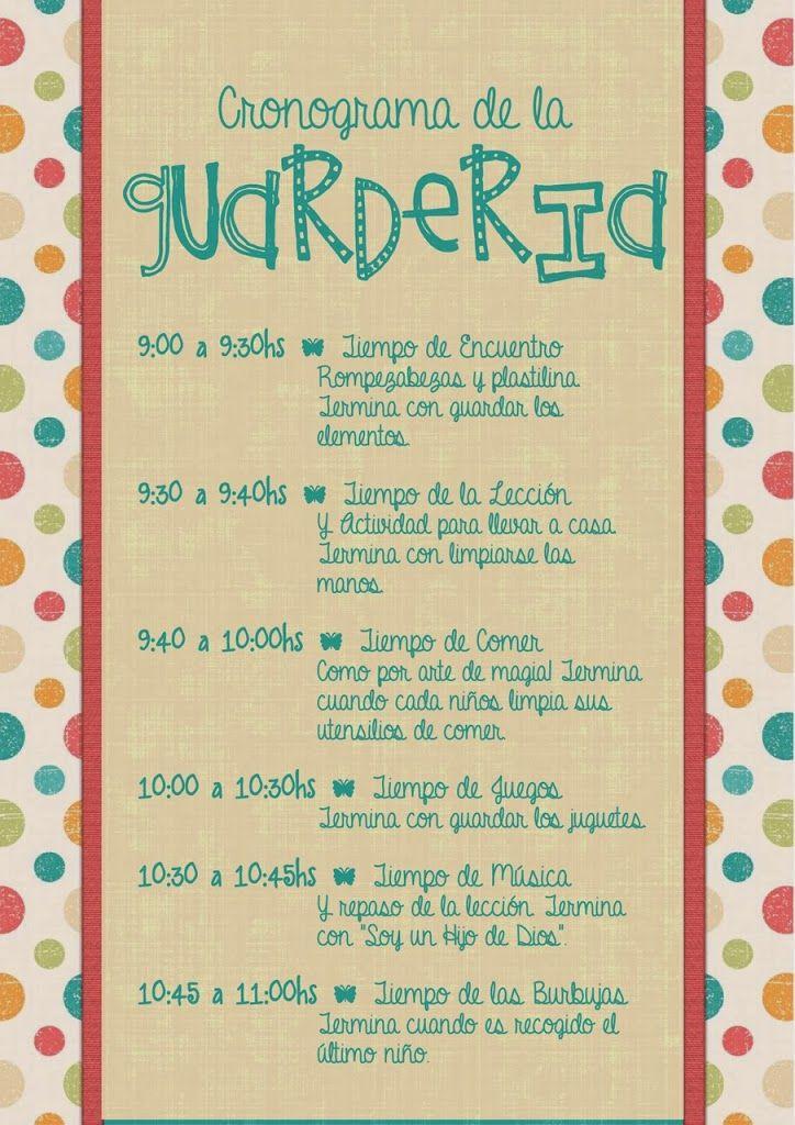 Cronograma De La Guardería Con Imágenes Guardería En Casa Actividades De Guardería Guarderia