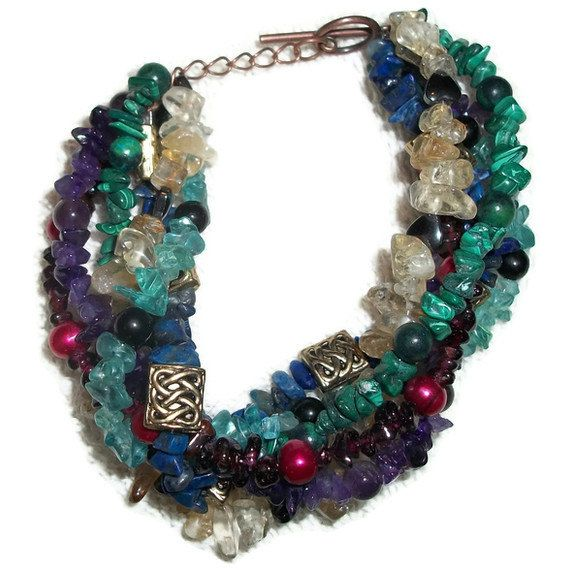 Multi Gemstone Braided Bracelet by CreativeShenanigans on Etsy, $55.00