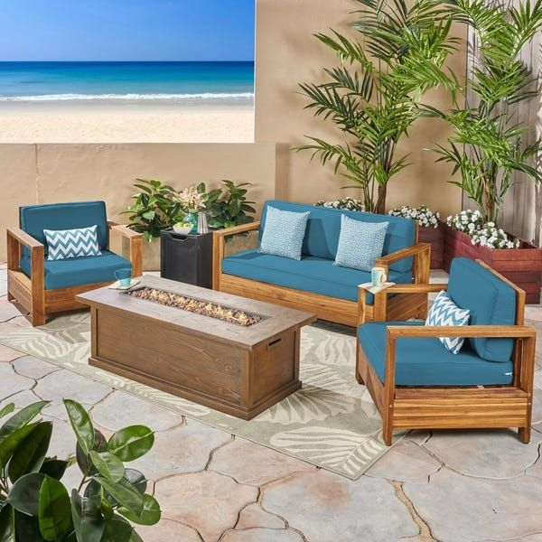 Devon Outdoor 4-Seater Acacia Wood Chat Set with Fire Pit ... on For Living Lawrence Fire Pit id=74626
