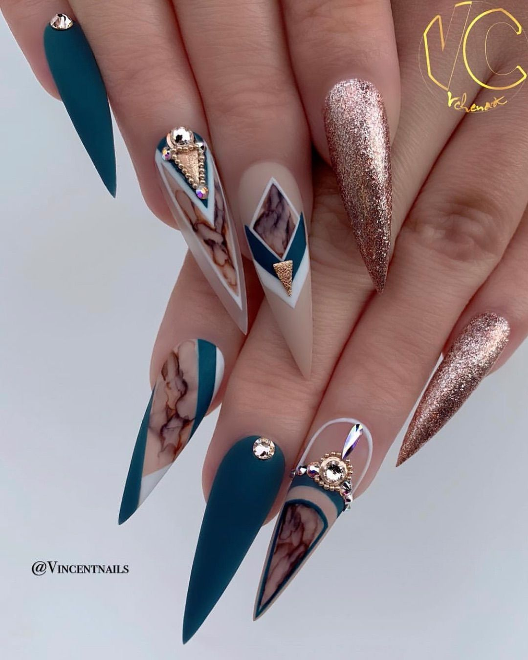 Lee Stiletto Nails On Instagram These Marble Line Works