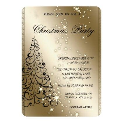 Elegant Christmas TreeChristmas Party Card - invitations custom