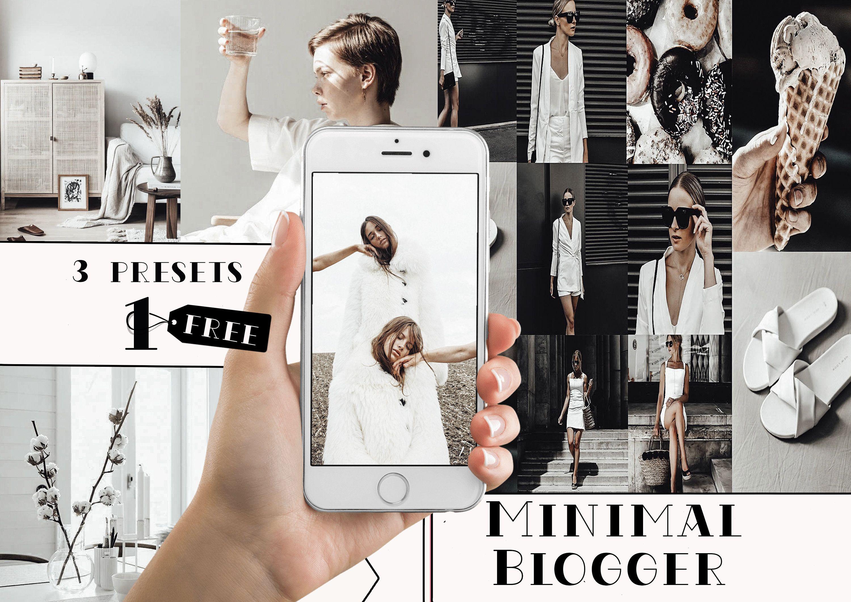 1 FREE ! 3 Lightroom Mobile Presets,Minimal Blogger presets, Presets