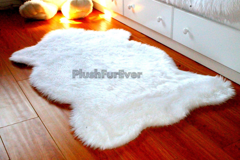 3 X 5 True White Faux Fur Rug Single Sheepskin Rug Fake Animal Skin Rug Bedroom Rug Nursery Rug S White Faux Fur Rug Faux Sheepskin Rug Faux Fur Area Rug