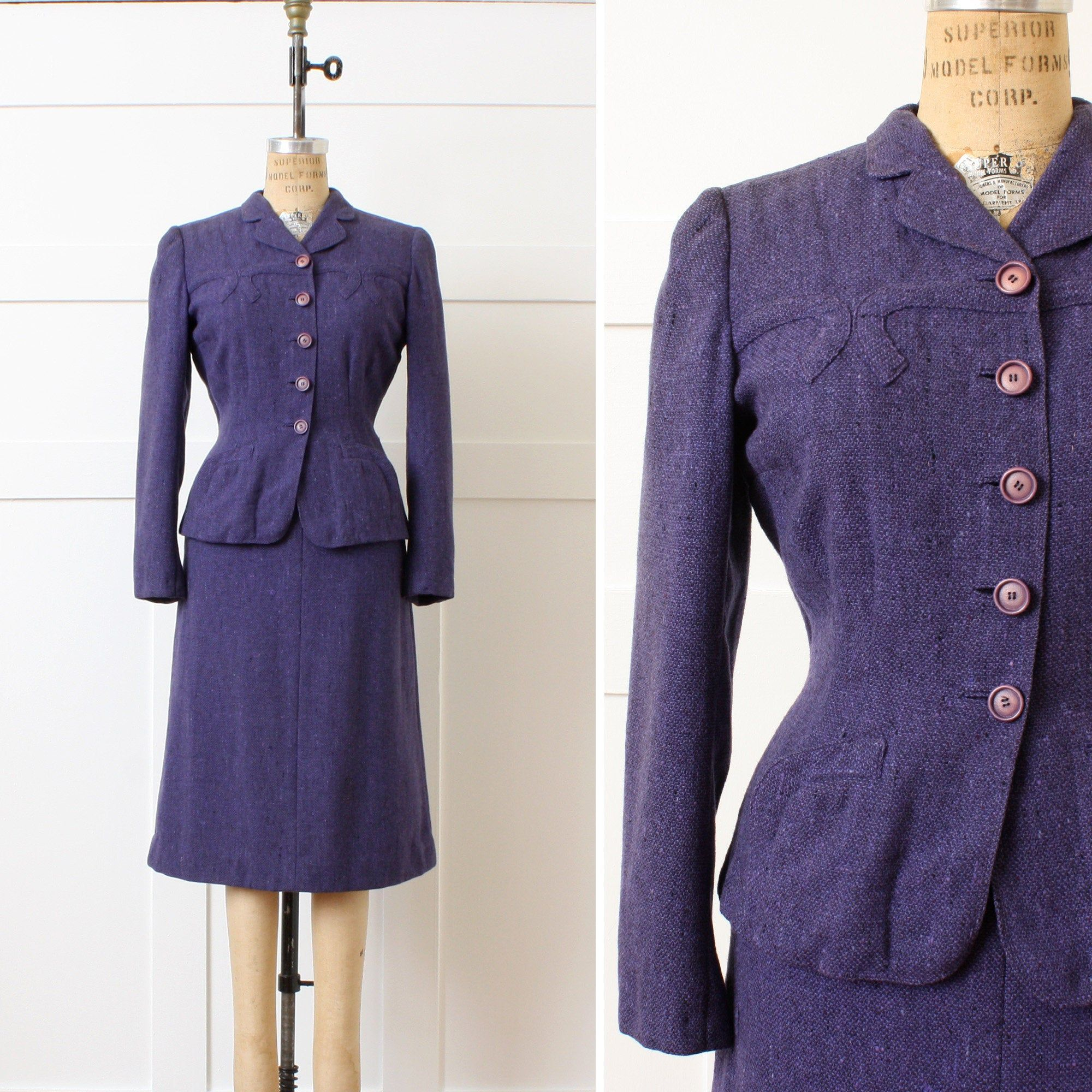 Vintage 1950s 1960s Green Handmade Skirt Suit Fits Medium Size 8