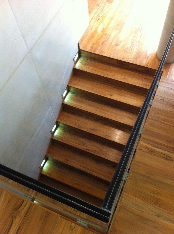Best Brazilian Teak Stairs With Ambient Lighting Between Steps 400 x 300