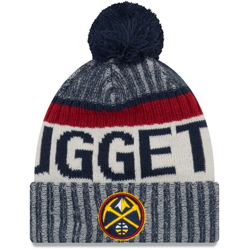 wholesale dealer 572ad 68d4a ... store denver nuggets new era sport pom cuffed knit hat navy 380ee 965e8