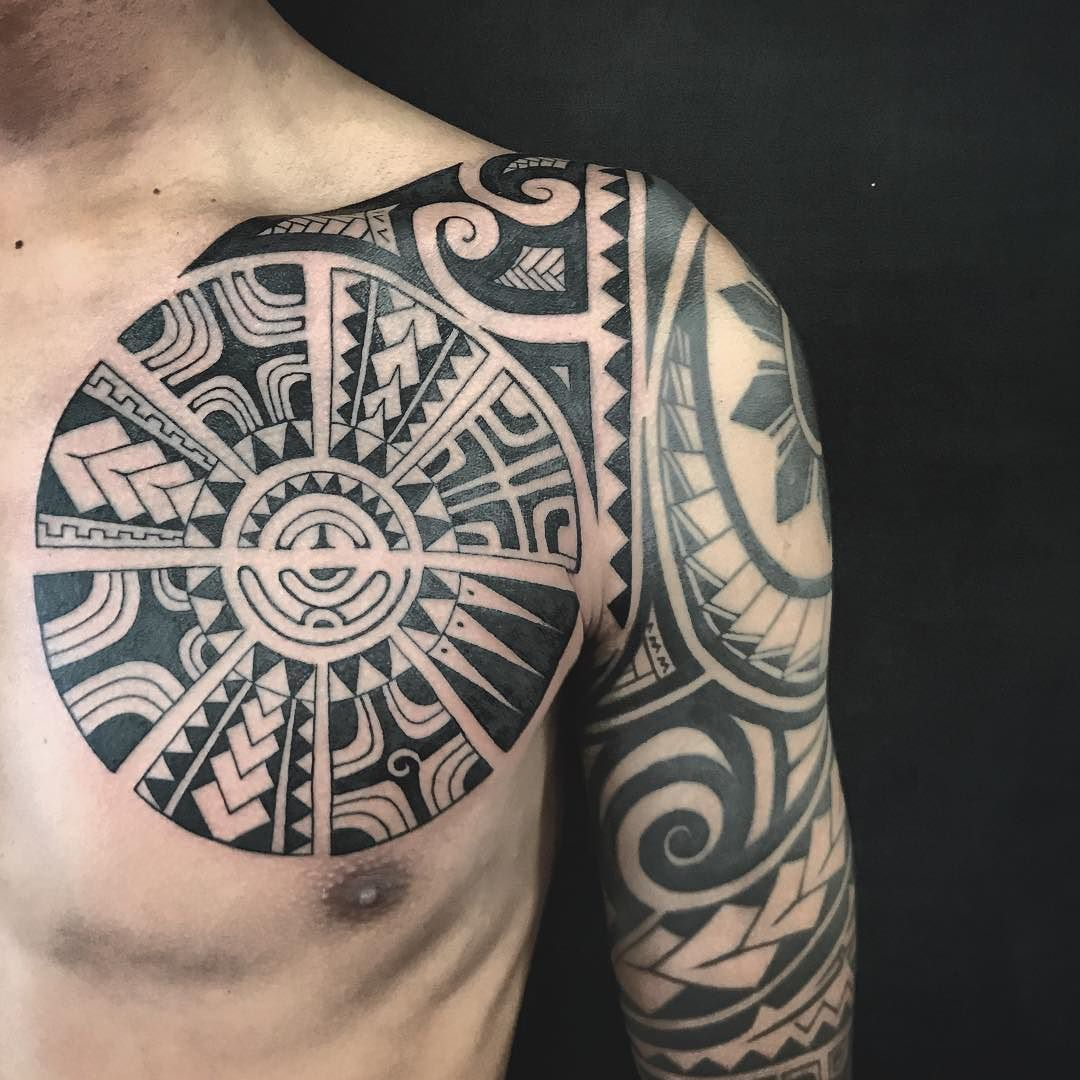 Polynesian Chest Tattoo Addition To A Half Sleeve Polynesian Tattoo Tattoos Arm Tattoos Polynesian