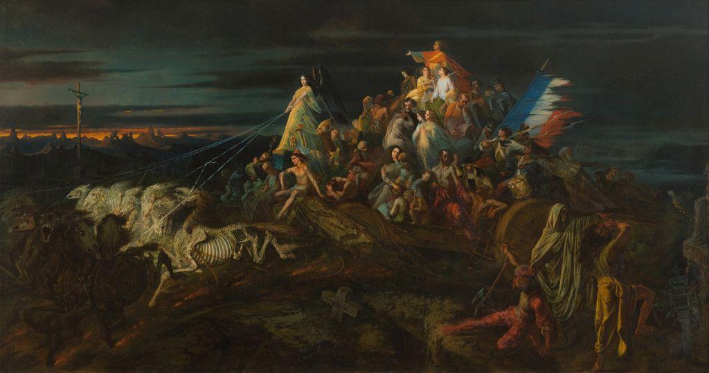 Le char de la mort (The Chariot of Death) by Théophile Schuler, 1848. Current location: The Unterlinden Museum,  Colmar, France.