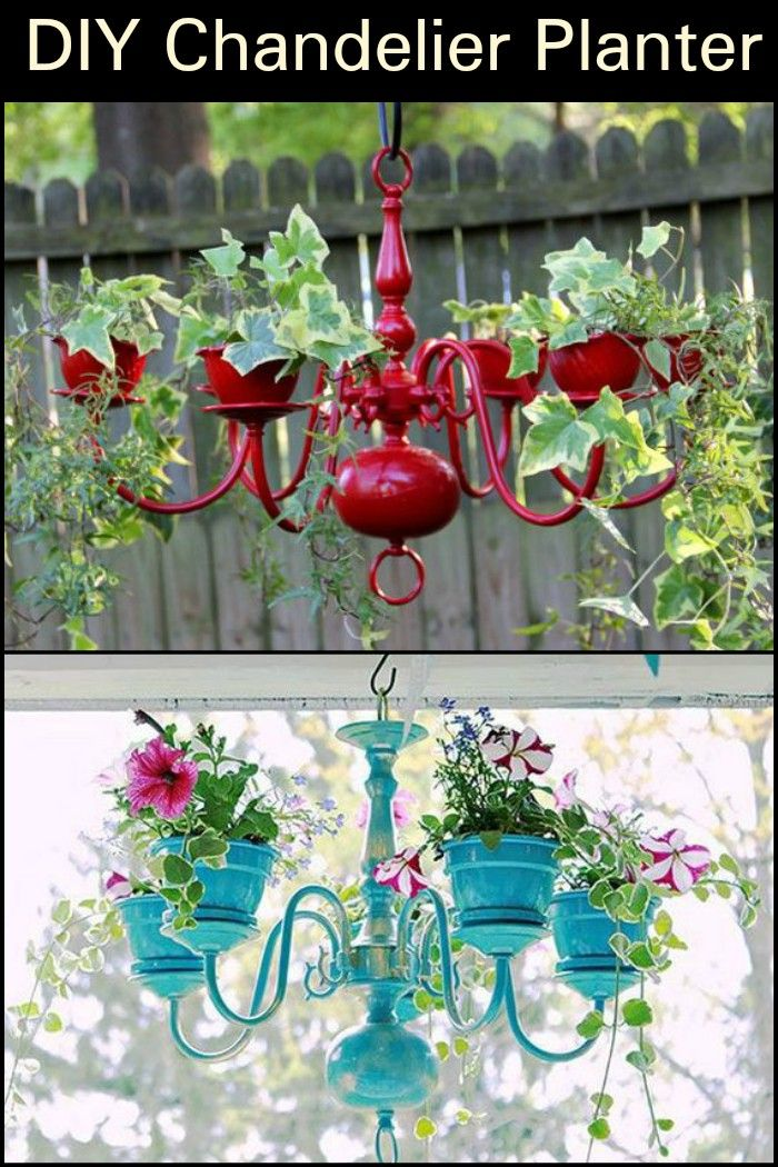 Chandelier Planter Hanging Flower Baskets Old Chandelier Diy Garden Decor