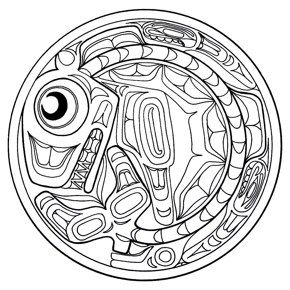 A Killer Whale From The Haida Indians Printable Coloring Book Page