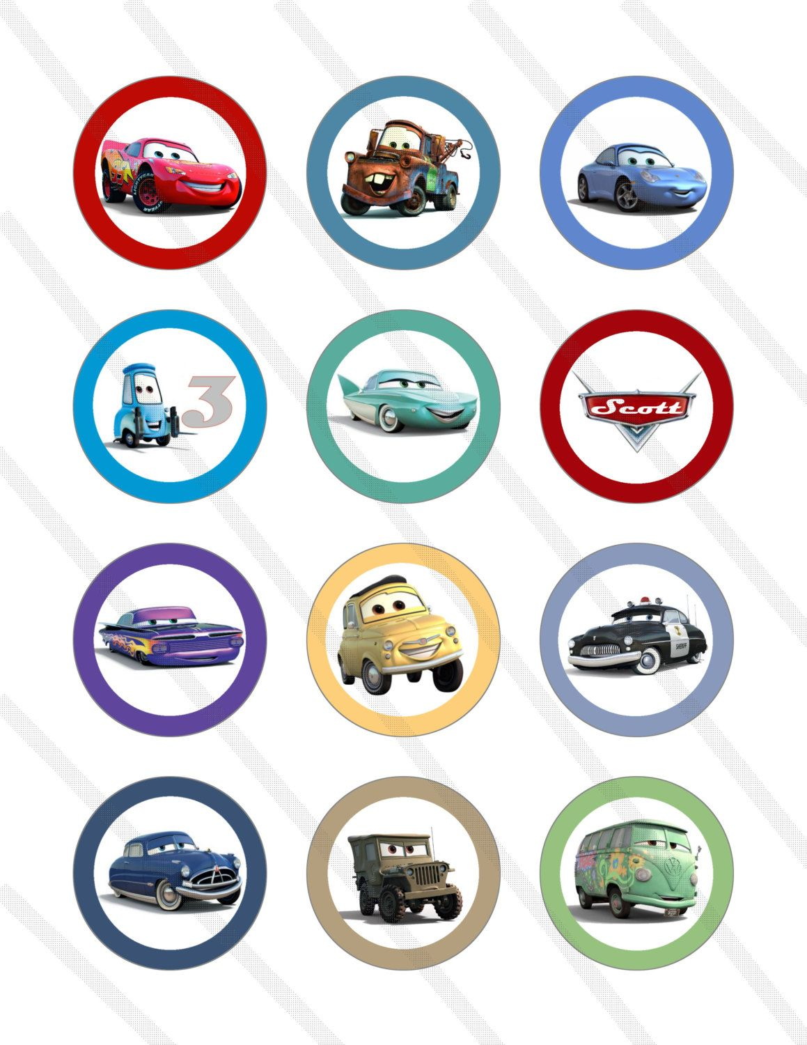 Disney Cars Cupcake Toppers Free Printables In