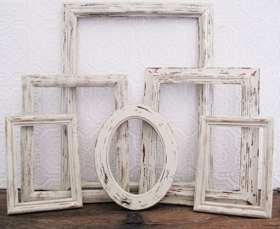 Open Picture Frame Set Of 6 Antique White Shabby Chic Wall Decor ...