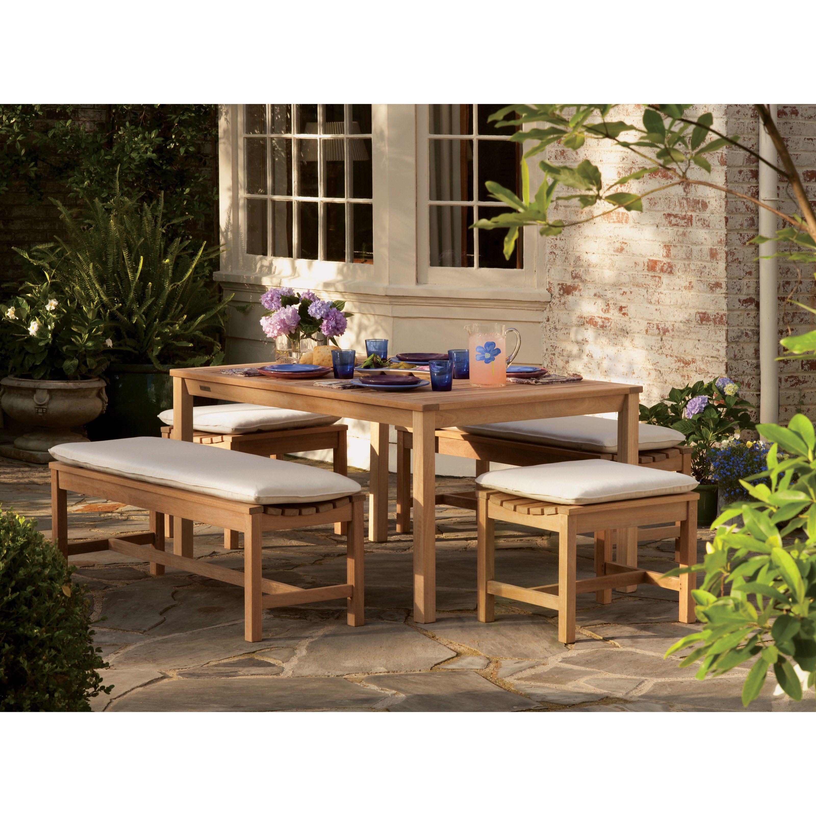 Oxford Garden Hampton Shorea Wood 45 In. Patio Dining Set