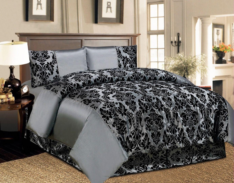 4 Piece Damask Full Bedset Elegance Designer Discount
