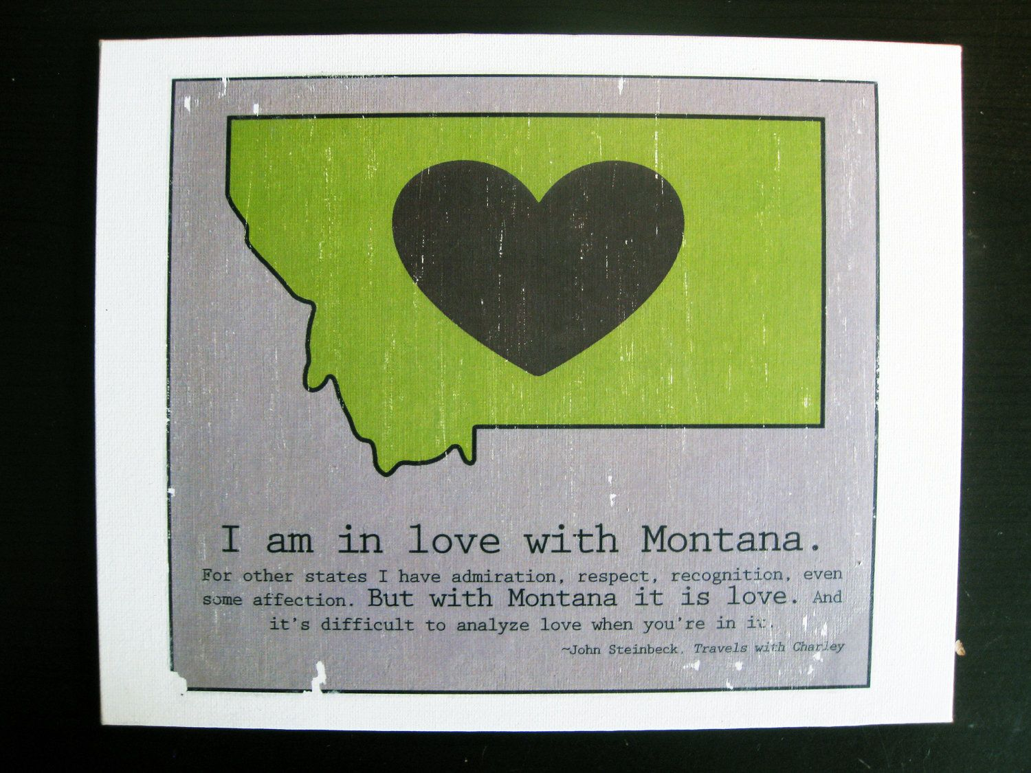 Montana Love State Map Canvas With John Steinbeck Travels With