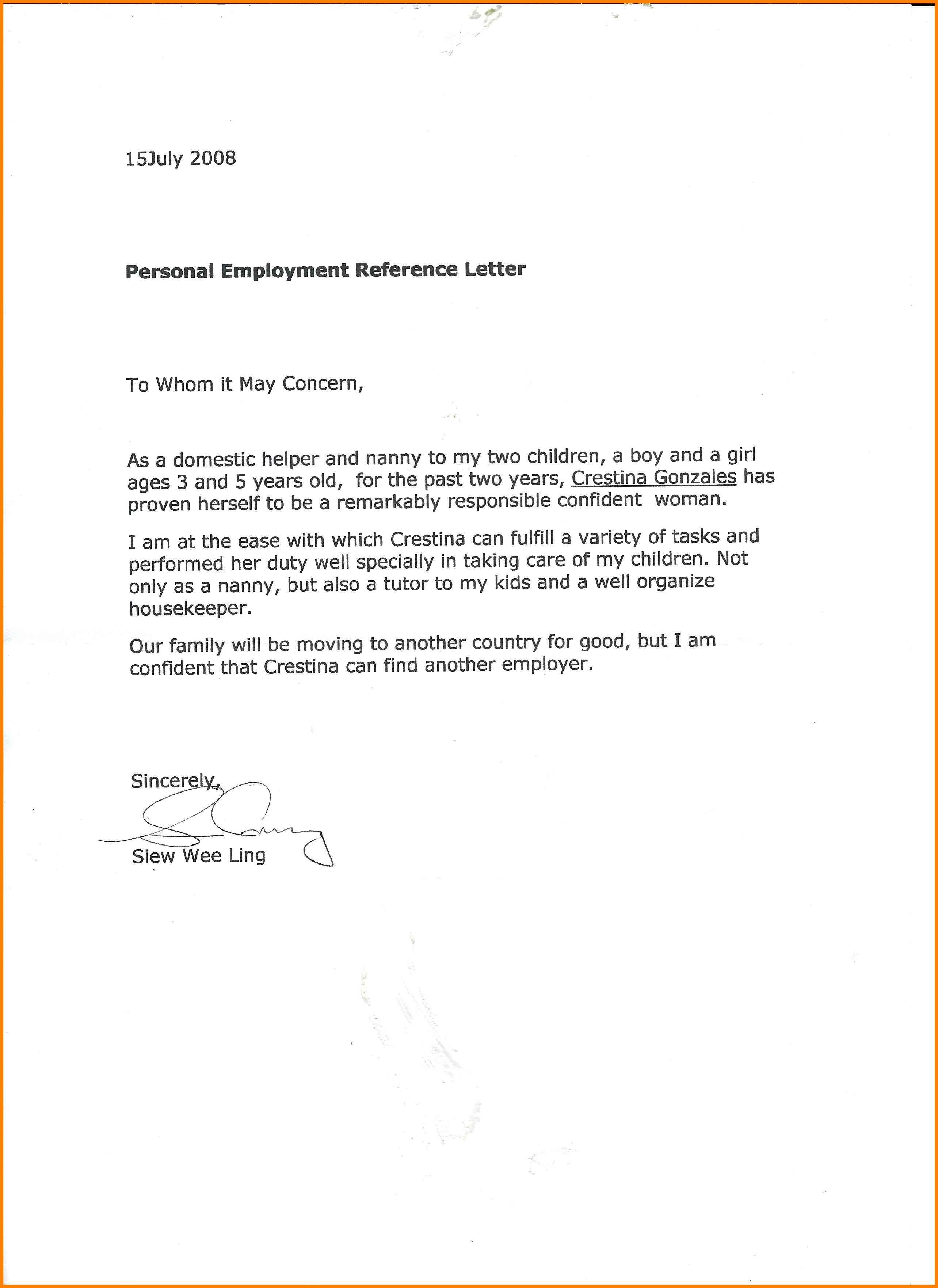 10 Excellent Nanny Recommendation Letter Points Of Origins By 10