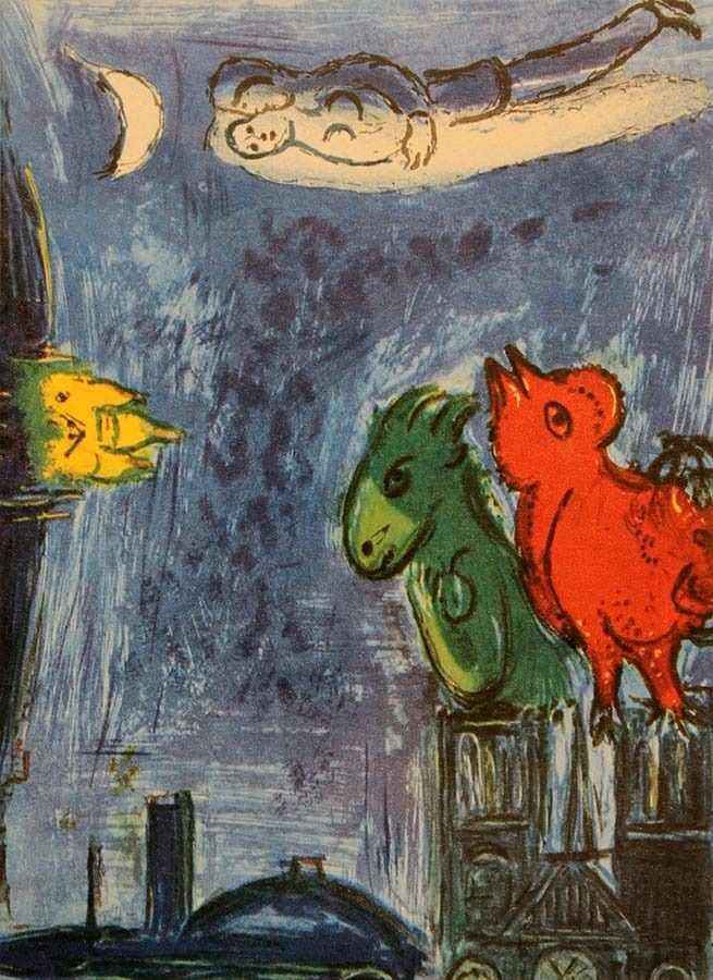 Marc Chagall - The Monsters of Notre Dame - 1954