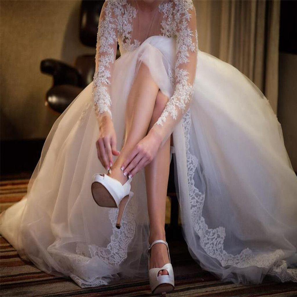 Atlanta wedding dress shops  Charming Popular Long Sleeve Lace See Through Wedding Party Dresses