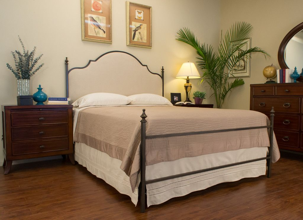 Weaverville Iron Bed Upholstered panel bed, Iron bed