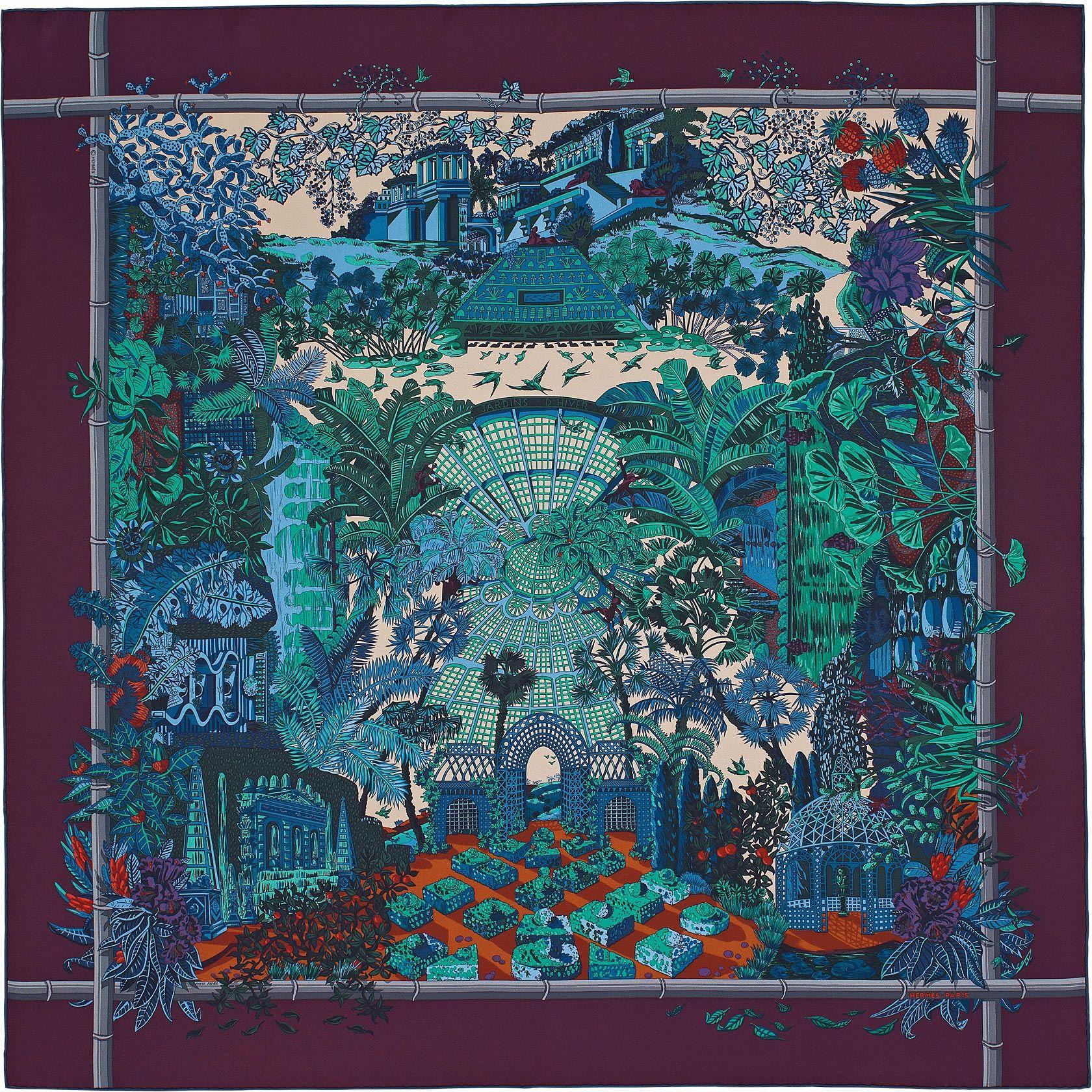 Carré 90 x 90 cm Hermès   Jardins d Hiver   ILLUSTRATIONS   Carré ... c78d0f345de