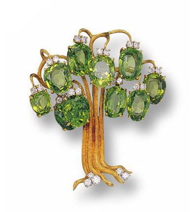 Gold, Peridot and Diamond Tree Brooch, Julius Cohen - Sotheby's