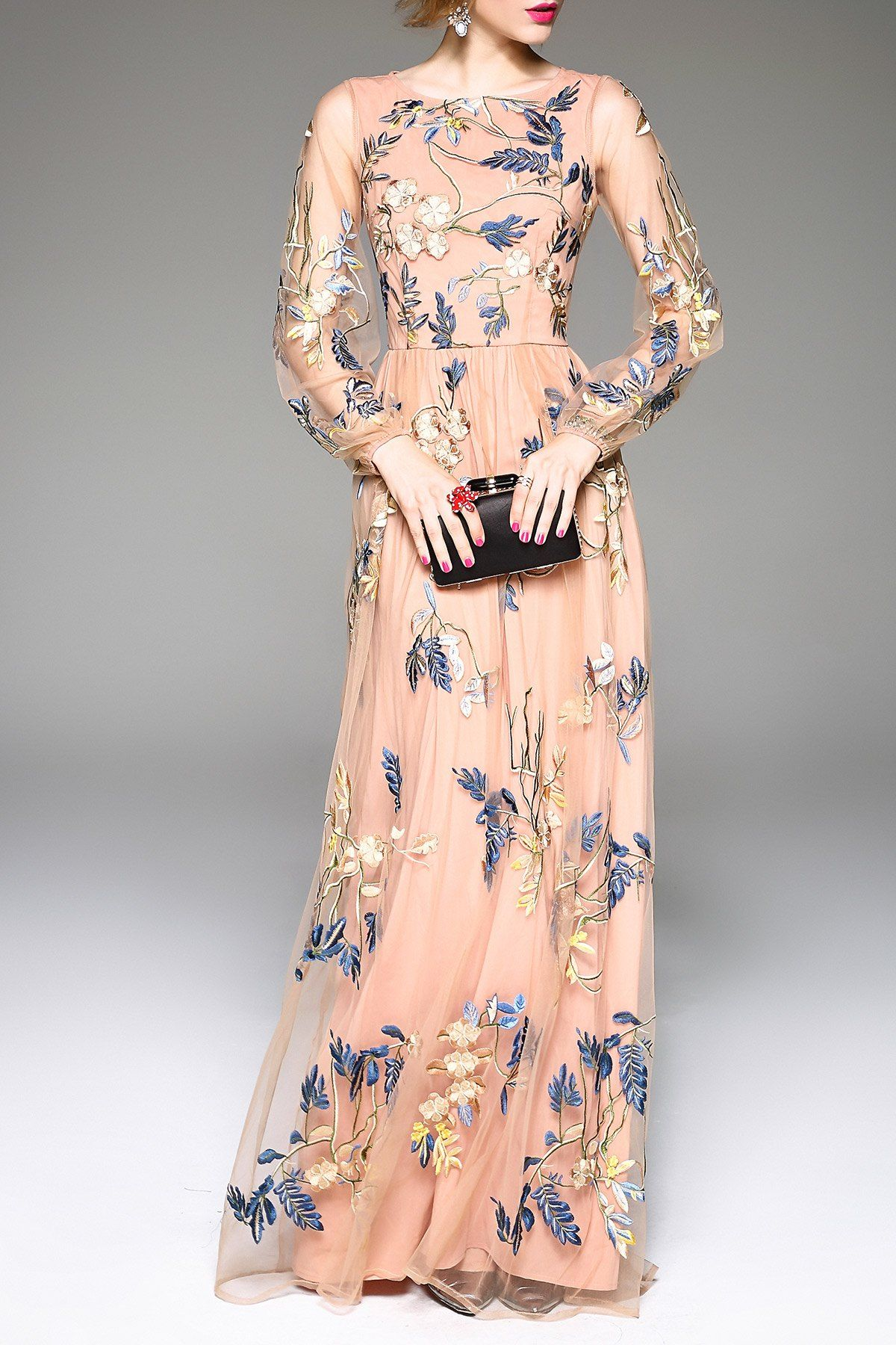 Blacktang pink embroidered gauze spliced prom dress evening