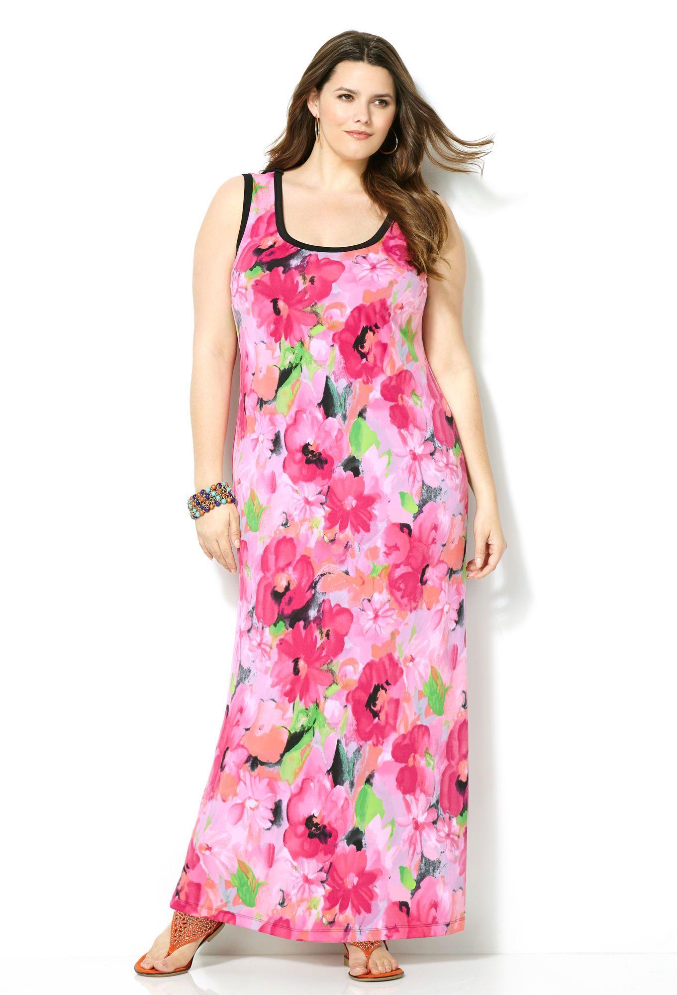 Watercolor Floral Maxi Dress-Plus Size Maxi Dress-Avenue | Sarah ...
