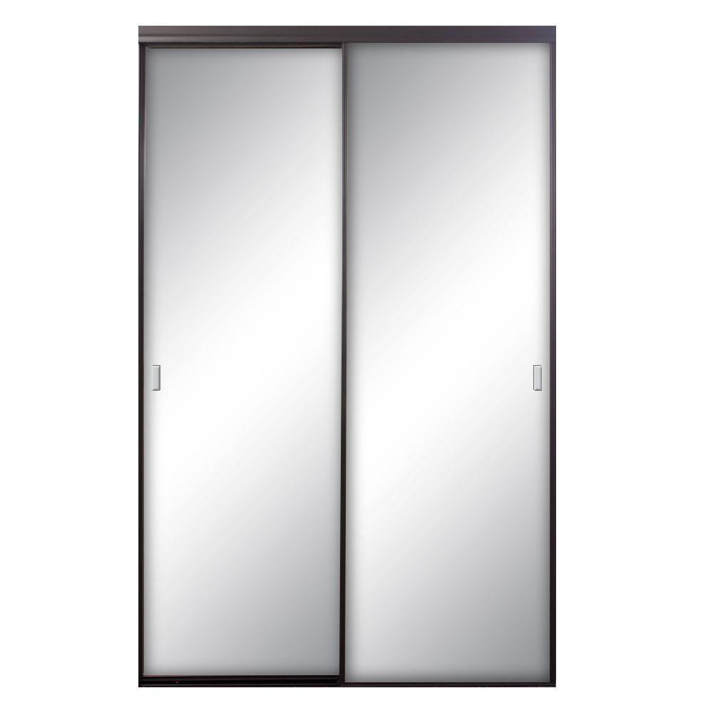 Contractors Wardrobe Asprey 60 In X 81 In Bronze Mirrored Aluminum Interior Sliding Door Asy 6081 Sliding Doors Interior Contractors Wardrobe Mirror Interior