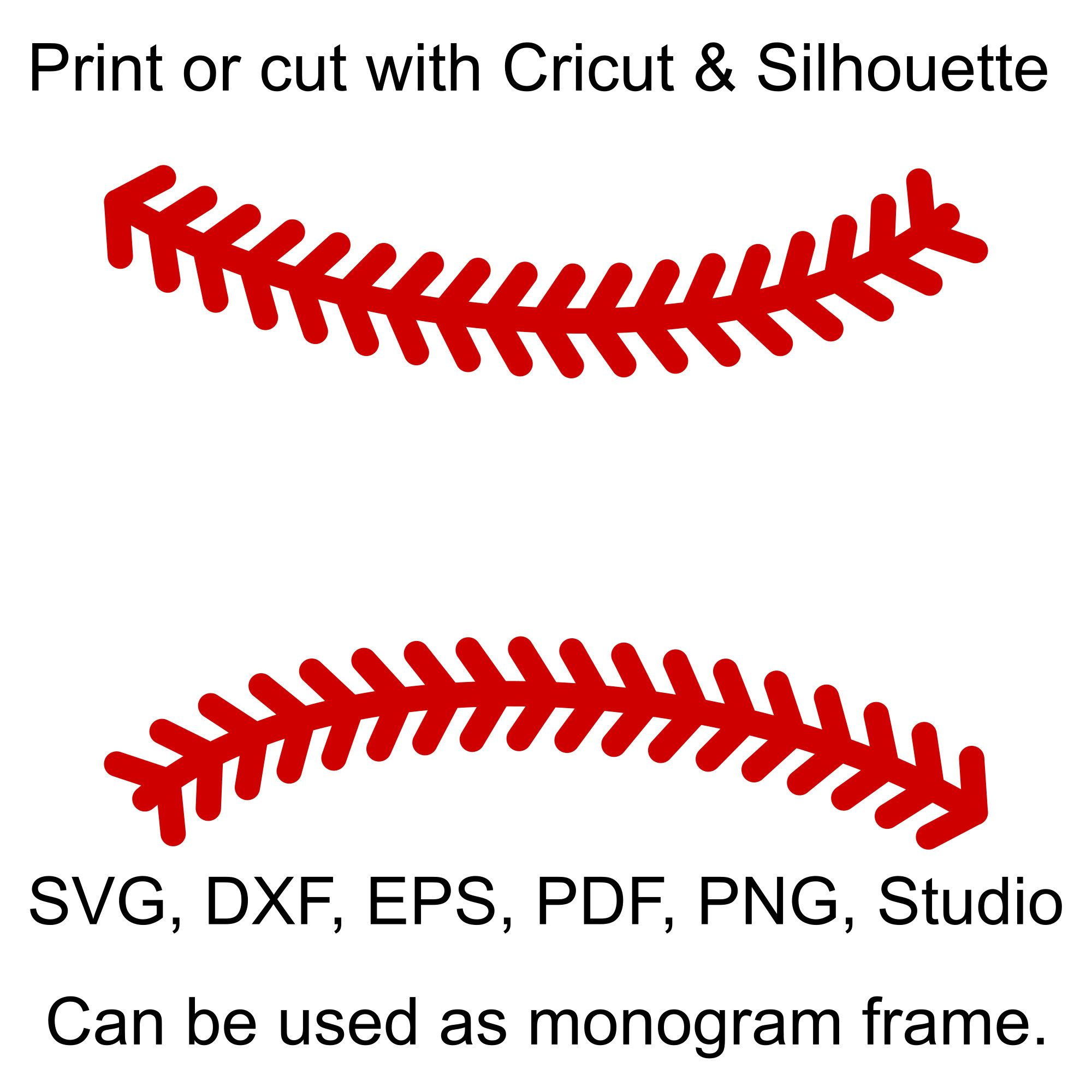 Baseball Stitches Svg Files Baseball Laces Svg File For Etsy Baseball Stitch Monogram Frame Cricut