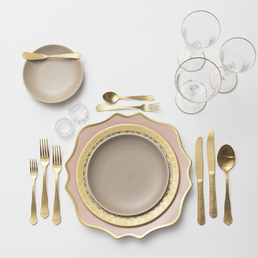 Anna Weatherley Chargers in Desert Rose/Gold + Versailles Glass ...