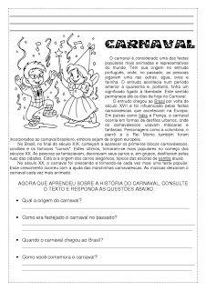 Atividades Carnaval 2020 Atividades Sobre O Carnaval