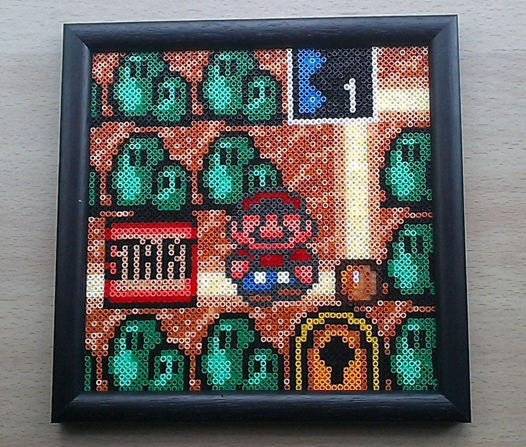 Super Mario Bros  3 World map Framed bead sprite picture