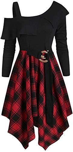 Amazing offer on DRESSFO Women Plaid Tunic Dress Tops Long Sleeve Skew Neck Irregular Dress online - Alltoclothing